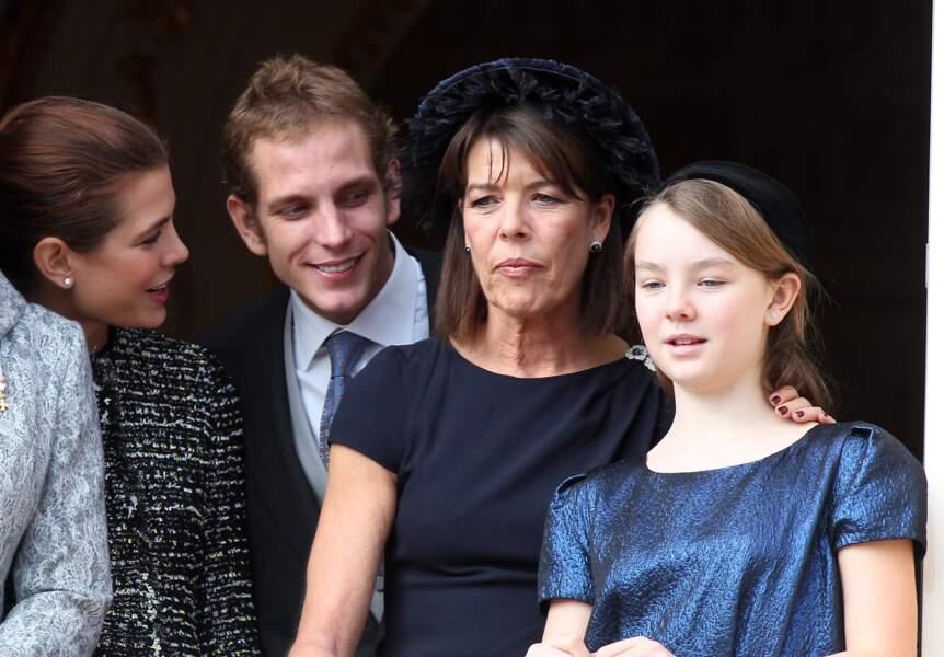 Alexandra de Hanovre, sa mère Caroline, Charlotte et Andrea Casiraghi à Monaco le 19 novembre 2011