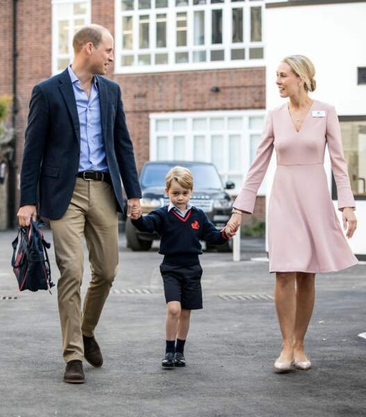 Le prince William emmène George à l'école Thomas's Battersea à Londres le 7 septembre 2017