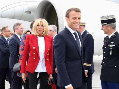 PHOTOS - Brigitte Macron en veste rouge et top blanc symbolique pour sa visite au Canada