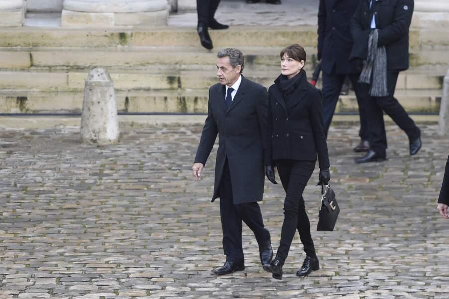 Arrivée de Nicolas Sarkozy et Carla Bruni-Sarkozy à la cérémonie d'hommage national à Jean d'Ormesson aux Invalides