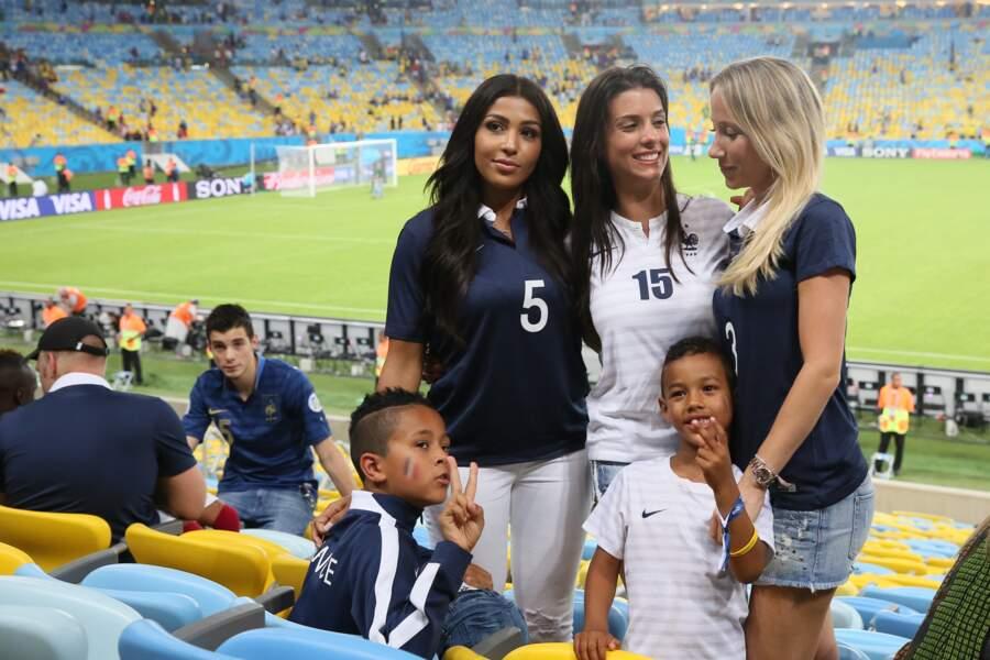Majda Sakho, Ludivine Sagna avec son fils Elia et Sandra Evra.