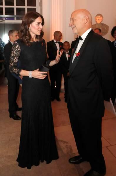 Kate Middleton, enceinte et Peter Fonagy au dîner de gala de l'association AFNCCF au palais de Kensington à Londres