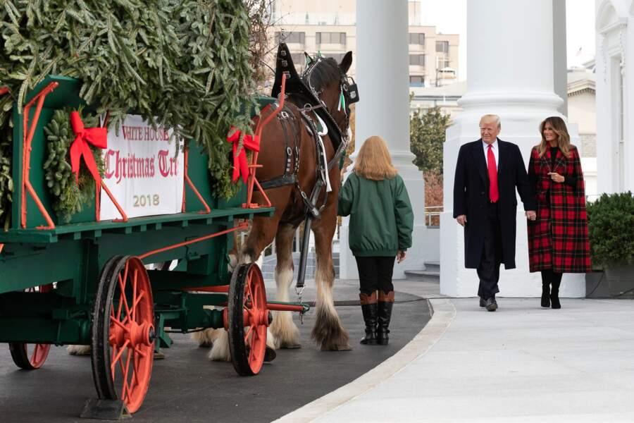 Donald et Melania Trump, en manteau cape à carreaux Michael Kors, reçoivent le sapin de Noël le 19 novembre 2018