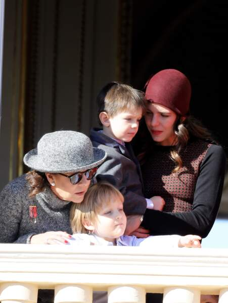 La princesse Caroline de Hanovre, Charlotte Casiraghi, son fils Raphaël Elmaleh et Sacha Casiraghi