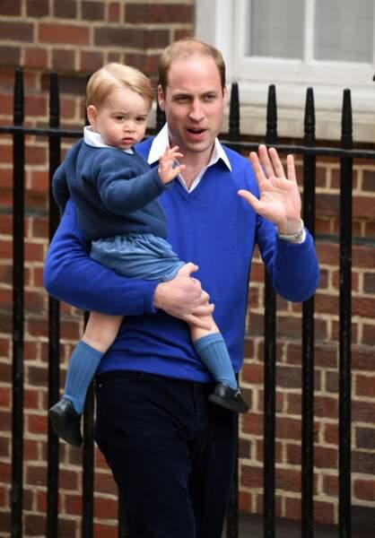 William et George se rendent à l'hôpital St-Mary à Londres pour la naissance de Charlotte, le 2 mai 2015