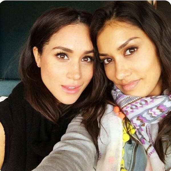 Meghan Markle et l'actrice Janina Gavankar à Atlanta, en octobre 2016