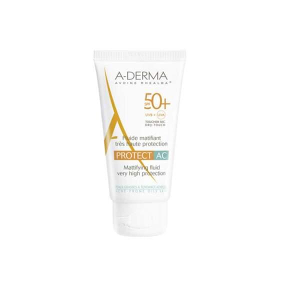 Protect AC Fluide Matifiant SPF 50+ (11,90 €) de A-Derma