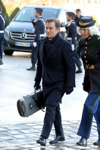 Arrivée du musicien Renaud Capuçon, lors de la cérémonie d'hommage national à Jean d'Ormesson aux Invalides