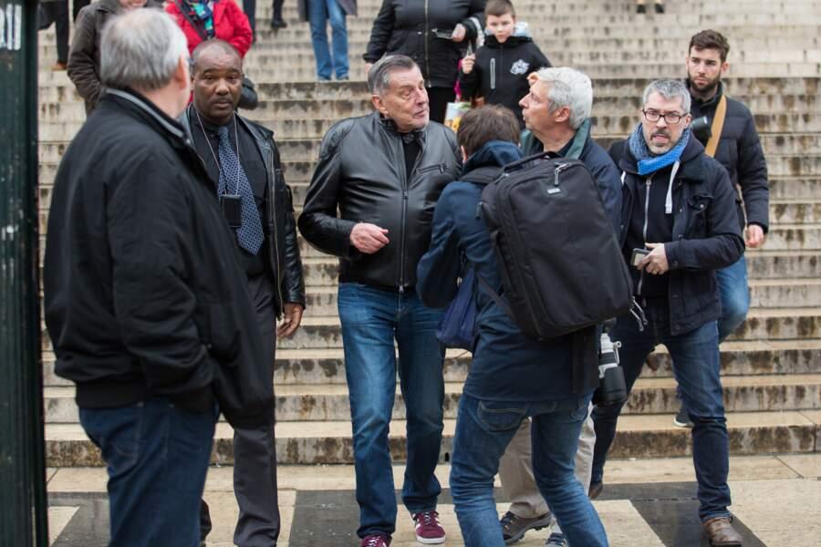 Jean-Claude Camus lors d'une messe hommage a Johnny Hallyday dans l'Église de la Madeleine à Paris, le 9 avril 2018