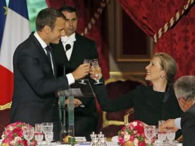 Brigitte Macron trinque avec le président de la Colombie, Juan Manuel Santos, en présence d'Emmanuel Macron