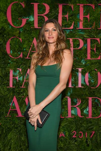 "Gisele Bundchen à la soirée ""Green Carpet Fashion Awards"" lors de la fashion week de Milan le 24 septembre 2017"