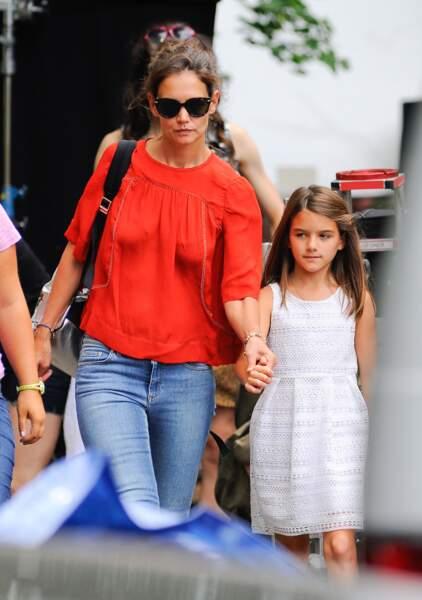 Katie Holmes et Suri Cruise  à New York, le 24 août 2015