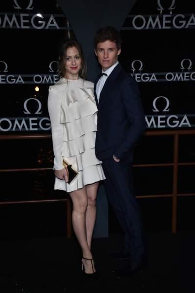 Eddie Redmayne et sa femme Hannah Bagshawe au photocall de la soirée Omega à Venise, le 28 octobre 2017.