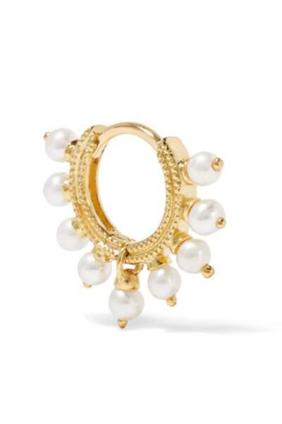 Créole en or 18 carats et en perles, Maria Tash - 390€