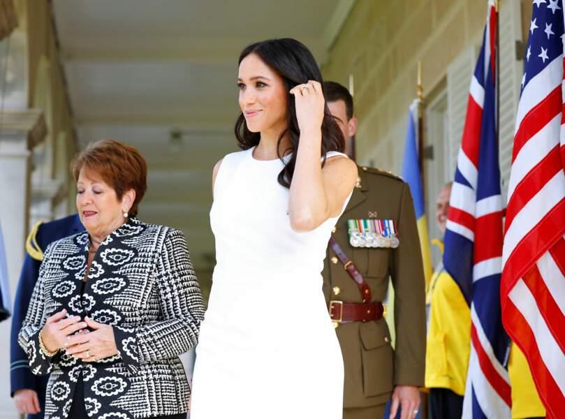 Meghan Markle, enceinte, à la Chambre d'Amirauté, à Sydney, le 16 octobre 2018