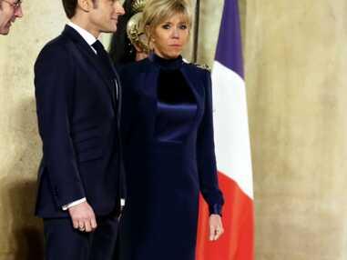 Brigitte Macron très élégante en robe bleu nuit pour un dîner d'Etat à l'Elysée