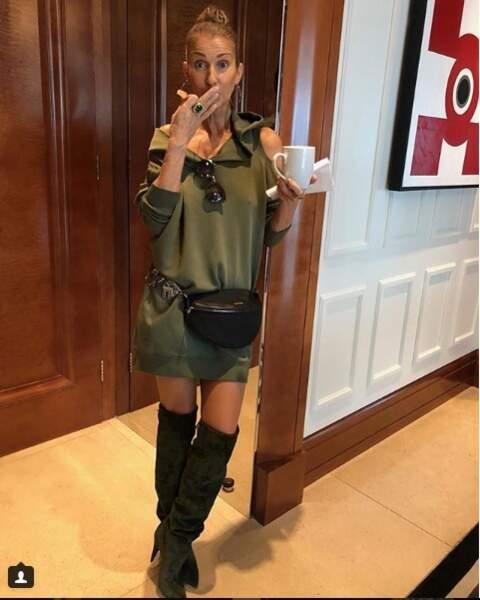 Céline Dion ne quitte plus ses cuissardes vernies, celles-ci signée Yves Saint Laurent