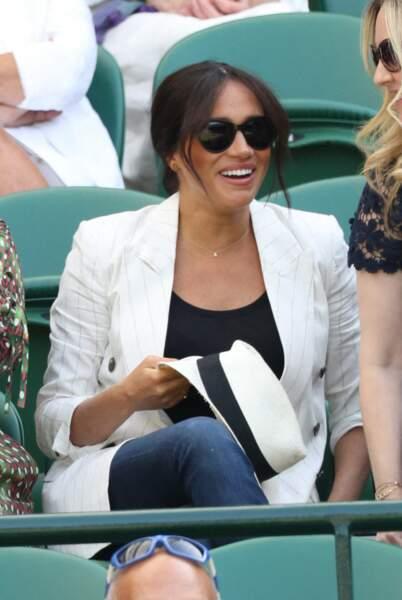 Meghan Markle sous le soleil de Wimbledon, le 4 juillet 2019.