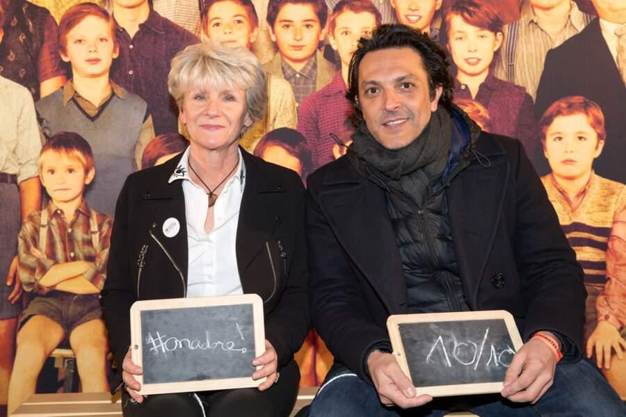 Olivier Sitruk accompagné de la Présidente de l'association Enfance et Partage Marie-Pierre Colombel