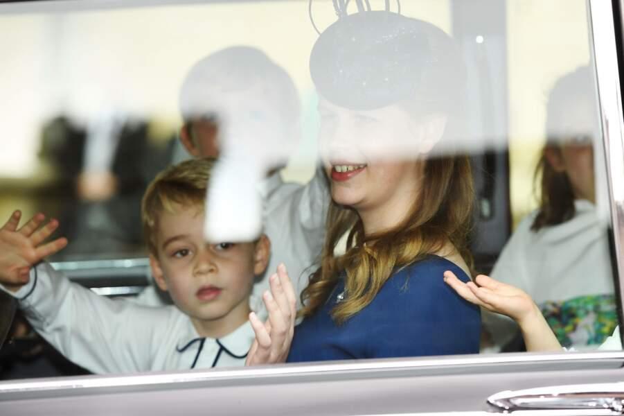 Arrivée du prince George de Cambridge au mariage d'Eugenie d'York à Windsor le 12 octobre 2018