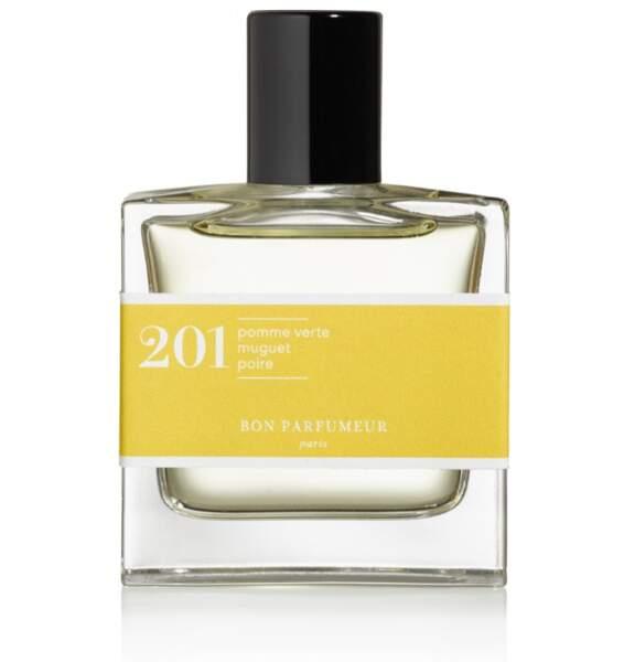 Parfum 201 à la pomme verte muguet et poire, 32 € (Bon Parfumeur).