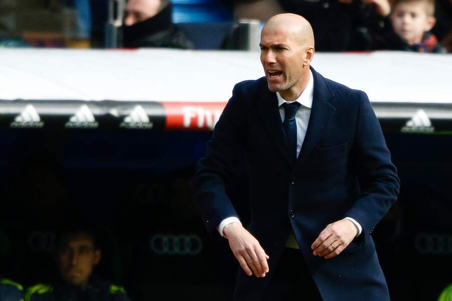 Zinédine Zidane lors du match entre le Real de Madrid et le Celta de Vigo à Madrid le 5 mars 2016