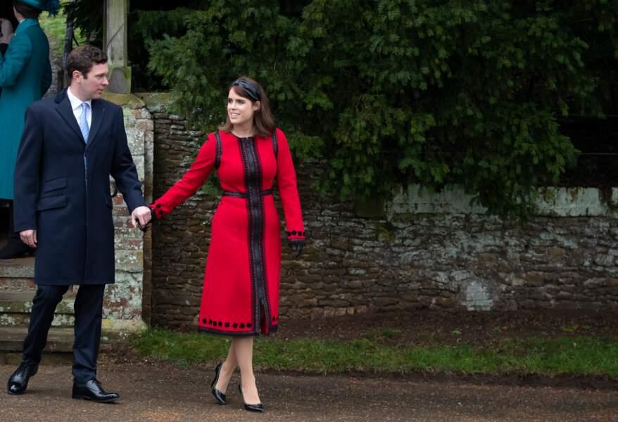 La princesse Eugenie etJack Brooksbank, main dans la main à la messe de Noël à Sandringham, le 25 décembre 2018