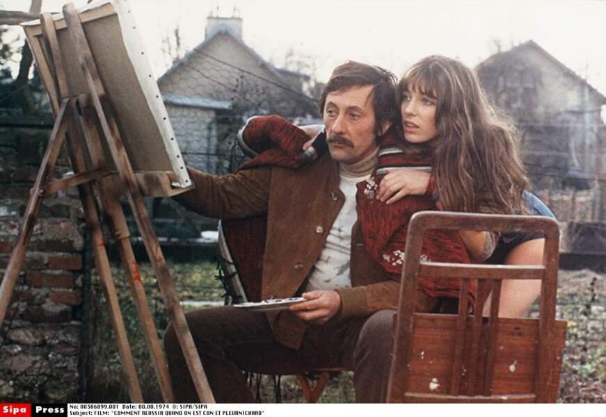 """Jane Birkin avec Jean Rochefort dans """"Comment réussir quand on est con et pleurnichard"""" (1974)"""
