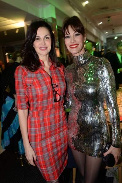 Mareva Galanter tout en strass et paillettes et aux côtés d'Helena Noguerra pour le diner de la mode