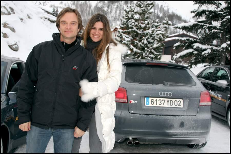 David Hallyday et sa femme Alexandra Pastor sur le circuit de glace de Val d'Isère
