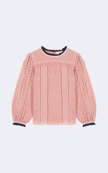 Boudoir, top à dentelle rose Ba&sh, 210 € (ba-sh.com)