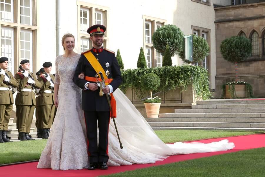 Le prince Guillaume de Luxembourg et la comtesse Stephanie de Lannoy lors de leur mariage le 20 octobre 2012