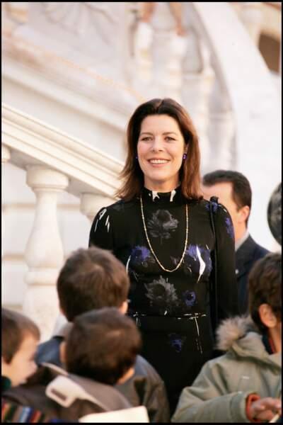 Caroline de Monaco assiste à l'arbre de Noël du palais princier de Monaco, en 2005