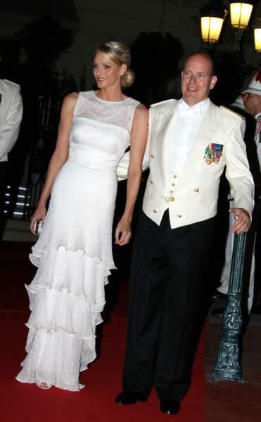 Albert II de Monaco et son épouse Charlène lors de leur soirée de mariage, le 2 juillet 2011