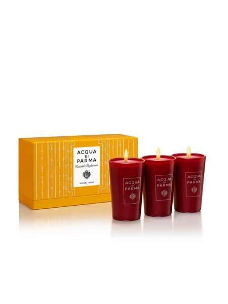 Coffret de mini-bougies, Acqua di Parma, 80 €, acquadiparma.com