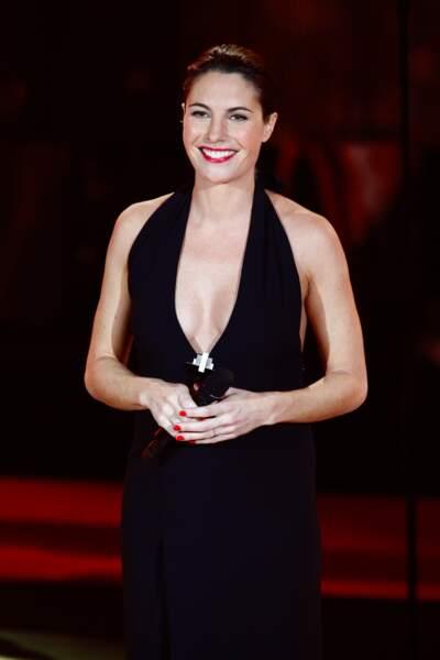 Alessandra Sublet et ses cheveux plaqués effet mouillé, aux Victoires de la Musique en 2012