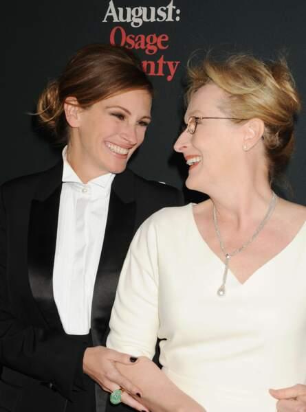 """Avec Meryl Streep, sa partenaire dans """"Un été à Osage County"""", à la première du film à Los Angeles en 2013"""