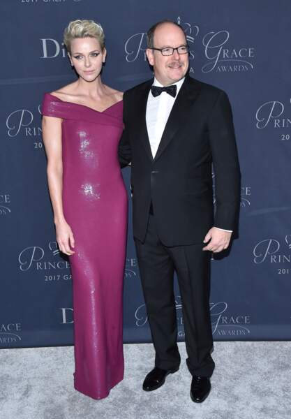 La princesse Charlène de Monaco au bras de son mari le prince Albert II de Monaco