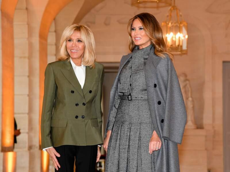 Brigitte Macron a souvent le sourire aux côtés de Melania Trump