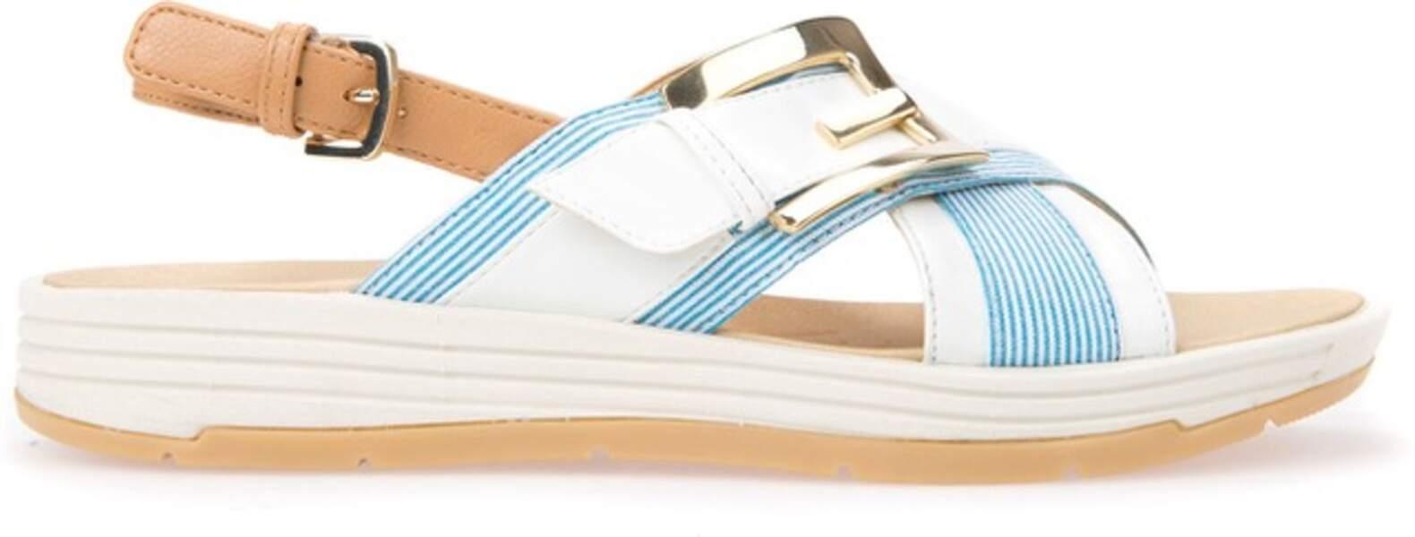 Azur, sandales compensées Geox, 95 € (geox.com)