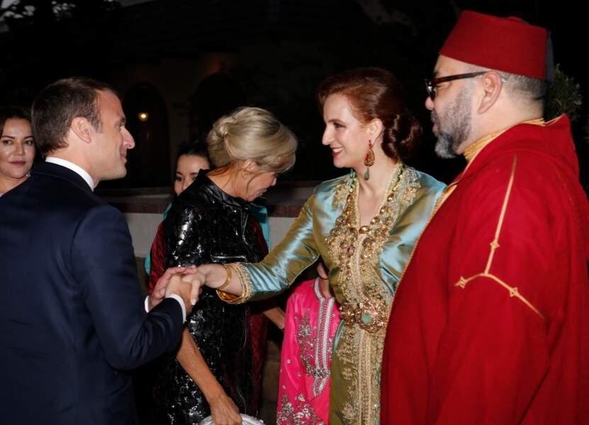 Le Président français E.Macron et sa femme accueillis par Lalla Salma et le roi du Maroc à Rabat le 14 juin 2017