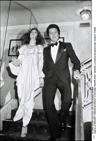 Caroline de Monaco et son premier mari Philippe Junot, chez Maxim's, à Paris, en janvier 1978