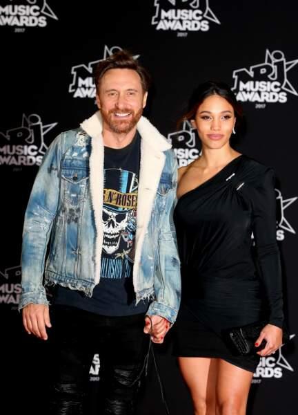 David Guetta et sa compagne Jessica Ledon - 19ème édition des NRJ Music Awards à Cannes le 4 novembre 2017