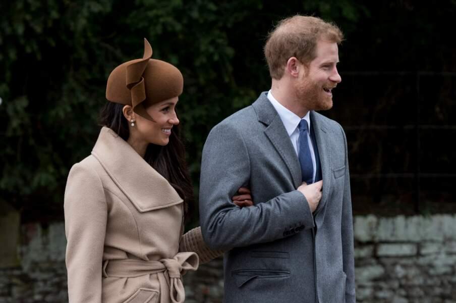 Meghan et Harry arrivent à la messe de Nöel à Sandringham, le 25 décembre 2017