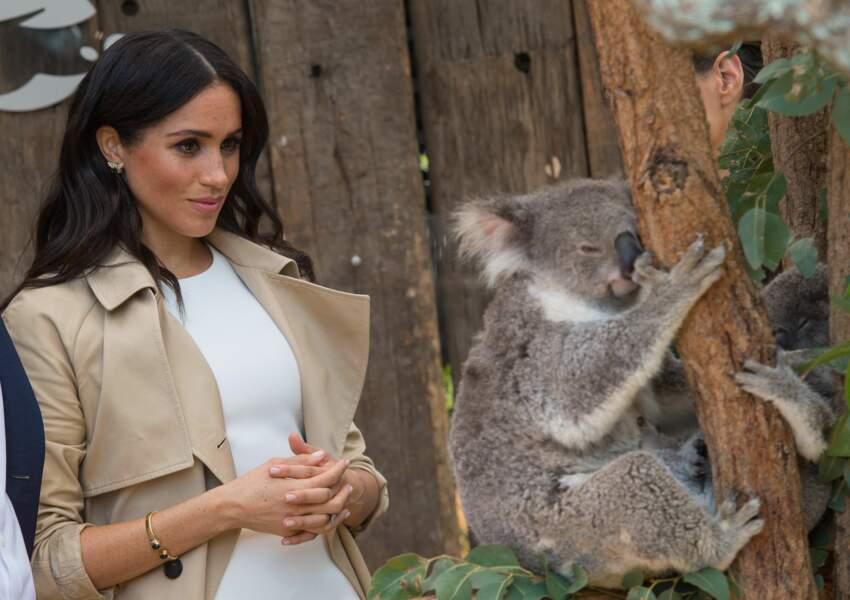Meghan Markle, enceinte, au Zoo de Taronga, à Sydney, le 16 octobre 2018