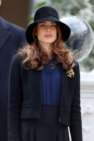Charlotte Casiraghi dans la cour du palais lors de la cérémonie militaire à Monaco, le 19 Novembre 2012.