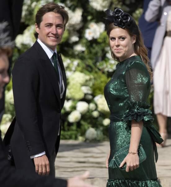 Beatrice d'York et son compagnon Edoardo Mapelli Mozzi au mariage d'Ellie Goulding, à Londres, le 31 août 2019.