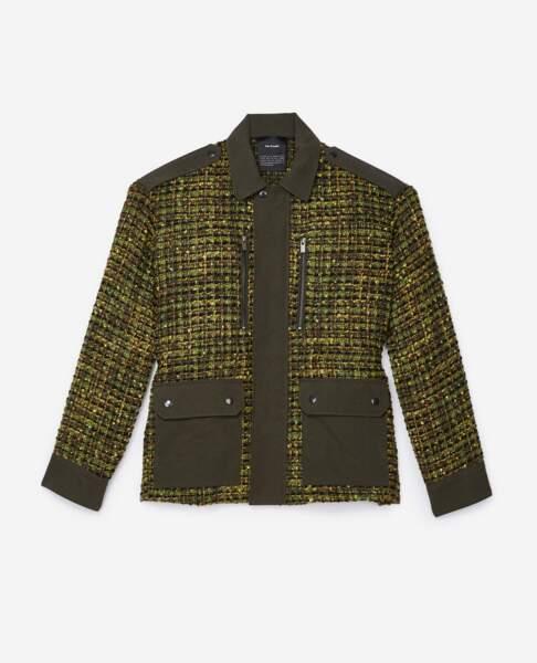 Army, veste en tweed kaki, 348 € (The Kooples).