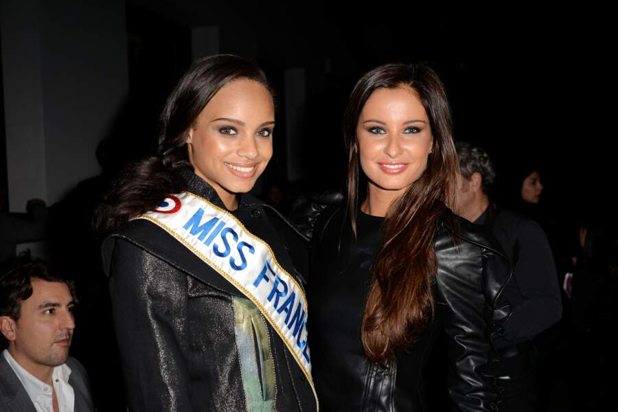 "Alicia Aylies (Miss France 2017) et Malika Ménard (Miss France 2009) au défilé de mode ""Guy Laroche"" le 1er mars"