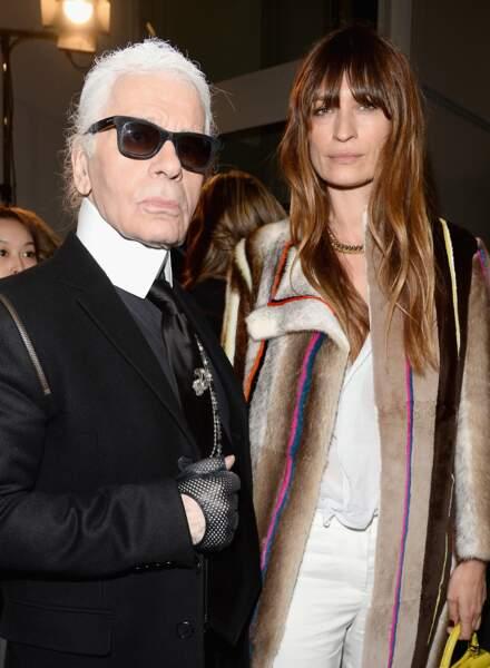 Karl Lagerfeld et Caroline de Maigret lors de la Fashion Week à Milan en 2014